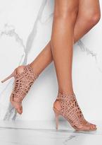 Missy Empire Isabelle Nude Faux Suede Laser Cut Open Toe Heels