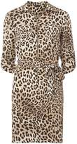 Brown Animal Print Zip Front Shirt Dress