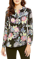Investments Y-Neck Roll Tab Blouse