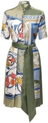 Salvatore Ferragamo Printed Silk Twill Dress W/ Belt