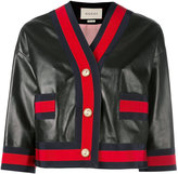 Gucci Web trim leather jacket - women - Silk/Cotton/Lamb Skin/Viscose - 40
