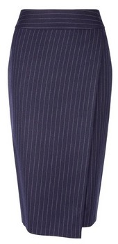 Dorothy Perkins Womens Navy Pinstriped Wrap Skirt