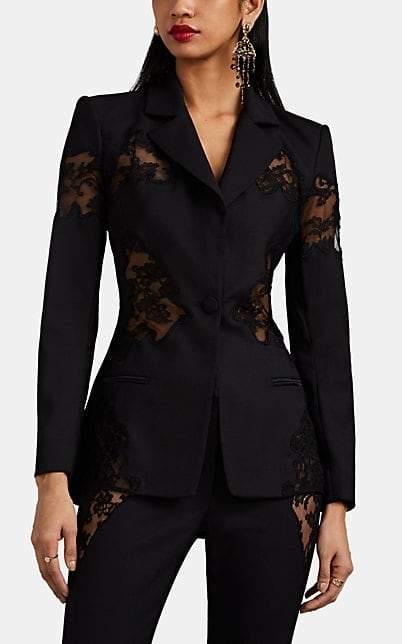 Altuzarra Women's Acacia Lace-Inset Wool One-Button Blazer - Black