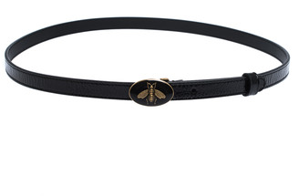 Gucci Black Patent Leather Skinny Bee Belt 90CM