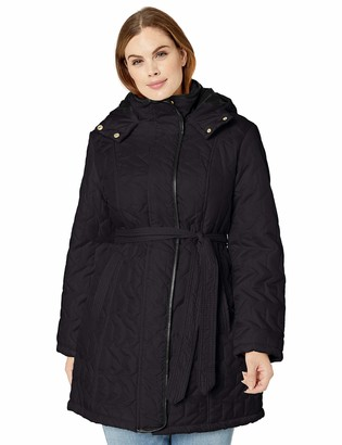 Big Chill Women's Plus Size Belted Zig-Zag Quilted Coat