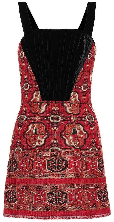 Etro Jacquard and velvet minidress