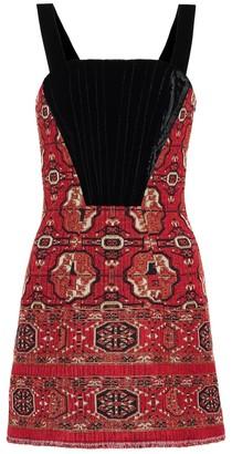 Etro Jacquard and velvet minidress