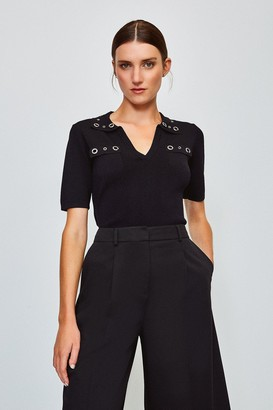 Karen Millen Eyelet Collar and Pocket Knitted Top