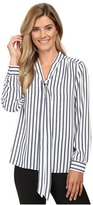 Vince Camuto Long Sleeve Cargo Stripe Tie Neck Blouse