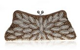 TopTie Exquisite Beaded Leave Evening Clutch Handbag