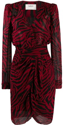 BA&SH zebra print wrap dress