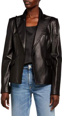 Michael Kors Plonge Leather One Button Blazer