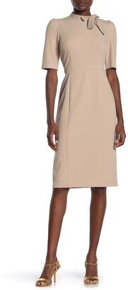 Donna Morgan Tie Neck Sheath Midi Dress