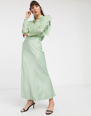 And other stories & satin midi skirt in mint green