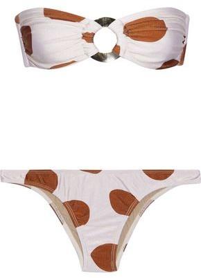 Adriana Degreas Ring-embellished Polka-dot Bandeau Bikini