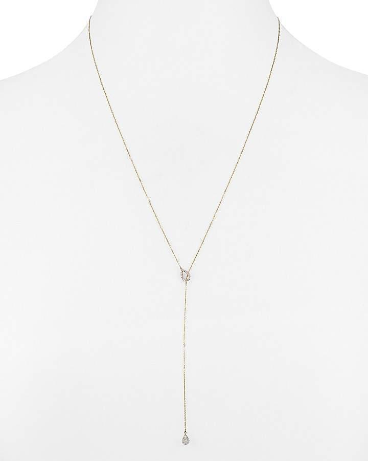 "Adina 14K Yellow Gold Teardrop Lariat Necklace with Diamonds, 20"""