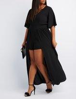 Charlotte Russe Plus Size Flutter Sleeve Maxi Romper