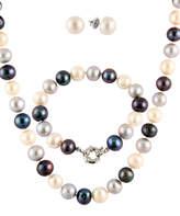 Bella Pearl Black Pearl & Sterling Silver Necklace Set