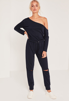 Missguided Loopback Off the Shoulder Romper Navy