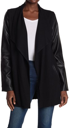 Fifteen-Twenty Faux Leather Sleeve Drape Front Jacket