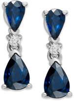 Macy's 14k White Gold Earrings, Sapphire (1-5/8 ct. t.w.) and Diamond Accent Drop Earrings