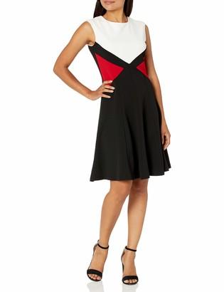 Sandra Darren Women's 1 PC Extended Shoulder Color Block Crepe Fit & Flare Dress