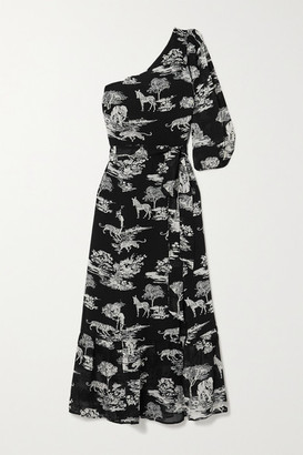 Reformation Freeport One-sleeve Belted Printed Georgette Midi Dress - Black