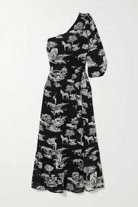 Reformation Freeport One-sleeve Belted Printed Georgette Midi Dress - Black