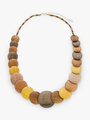 One Button Round Flat Wood Bead Necklace, Chocolate/Lemon