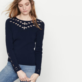 Maje Blocked knit jumper with openwork