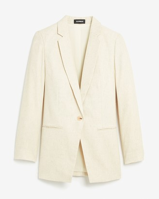 Express Woven One Button Long Sleeve Boyfriend Blazer