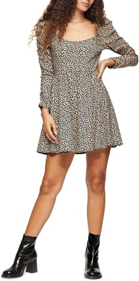 Topshop Animal Print Stretch Knit Dress