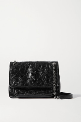 Saint Laurent Niki Baby Mini Quilted Crinkled Glossed-leather Shoulder Bag - Black