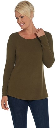 Lisa Rinna Collection Hacci Knit Curved Hem Long Sleeve Top