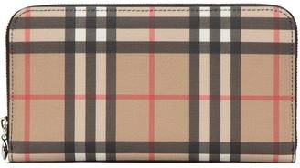 Burberry Vintage Check Zip Around Wallet