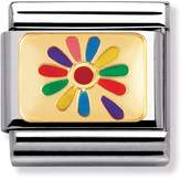 Nomination 18ct Gold & Enamel Rainbow Flower Classic Charm 030270/10