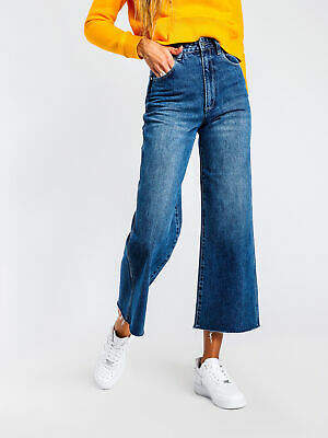 Wrangler New High Waisted Cropped Belle Jean In Blue Womens Jeans