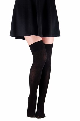 Black women high socks overknee by looksy girls knee high one size warm cotton stocking long boot opaque Over Knee High