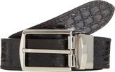 Barneys New York Men's Reversible Crocodile Belt-BLACK