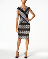 Sangria Printed Scuba Sheath Dress