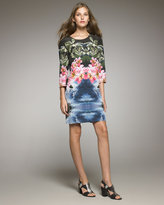Tropical-Print Shift Dress