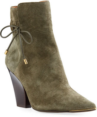 Tory Burch Lila Suede Bow Scrunch Booties