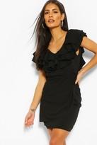 boohoo Woven Ruffle Detail Mini Dress
