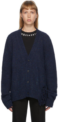 Maison Margiela Navy Distressed Cardigan