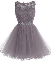Sisjuly Women's Short Beaded Rhinestones Tulle A-line Party Cocktail Dress