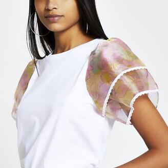 River Island Womens White floral organza frill sleeve T-shirt