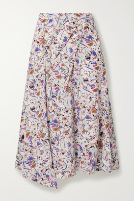 Isabel Marant Cacia Pleated Printed Silk-blend Crepe De Chine Midi Skirt - Pink