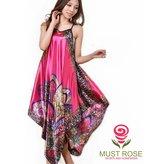Must Rose Women Sexy Boho Satin Strap Pajamas Long Nightgown Sleepwear