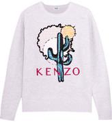 Kenzo Embellished Embroidered Cotton-piqué Sweatshirt - Light gray