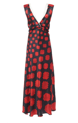 Marni Printed Lace-Trimmed Satin Dress